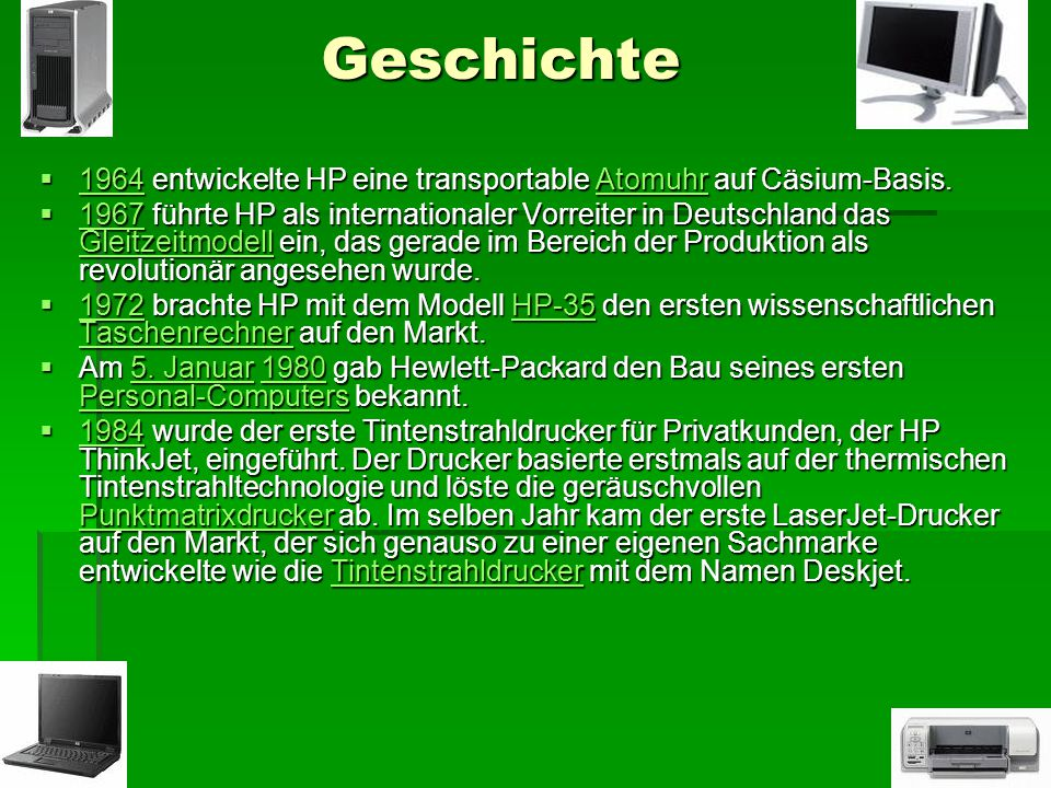 Geschichte 1964 entwickelte HP eine transportable Atomuhr auf Cäsium-Basis.