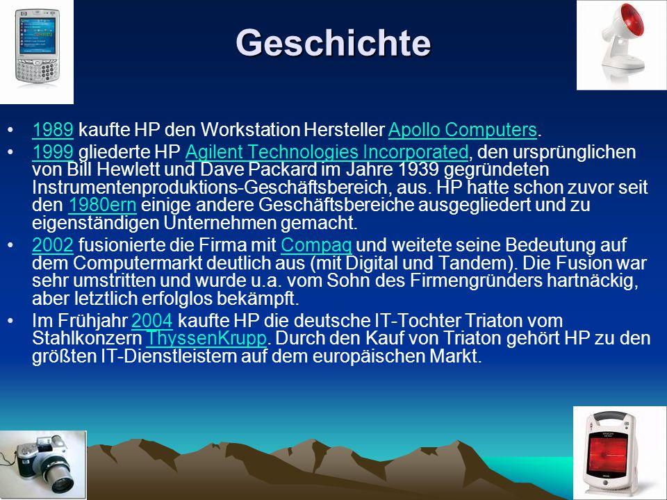 Geschichte 1989 kaufte HP den Workstation Hersteller Apollo Computers.