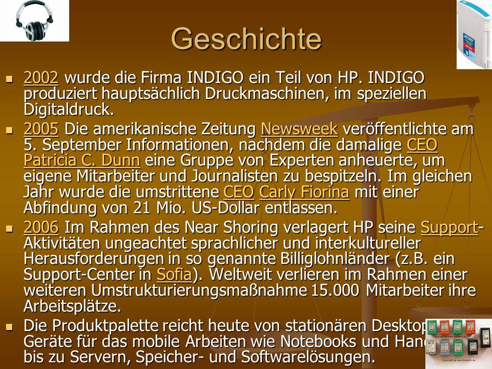 Geschichte 2002 wurde die Firma INDIGO ein Teil von HP. INDIGO produziert hauptsächlich Druckmaschinen, im speziellen Digitaldruck.