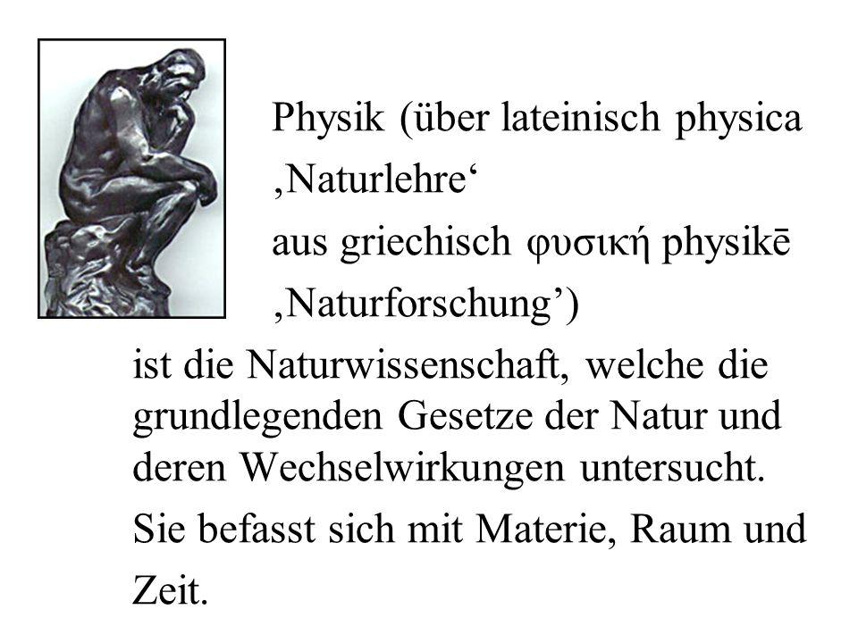 Physik (über lateinisch physica 'Naturlehre' aus griechisch φυσική physikē 'Naturforschung') ist die Naturwissenschaft, welche die grundlegenden Gesetze der Natur und deren Wechselwirkungen untersucht.