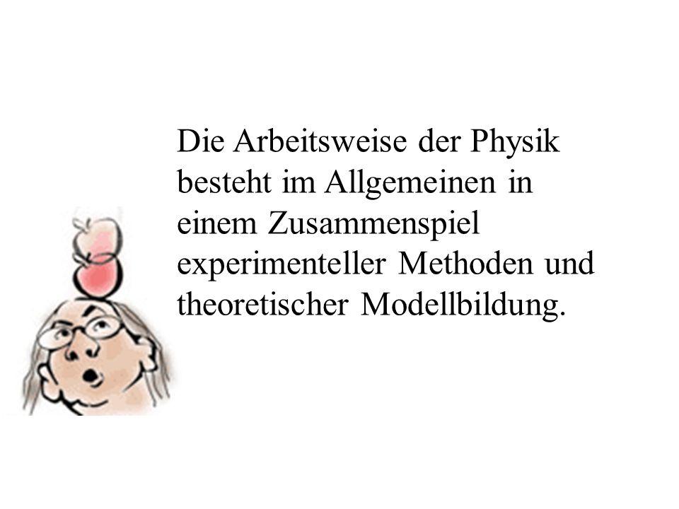 Die Arbeitsweise der Physik besteht im Allgemeinen in einem Zusammenspiel experimenteller Methoden und theoretischer Modellbildung.