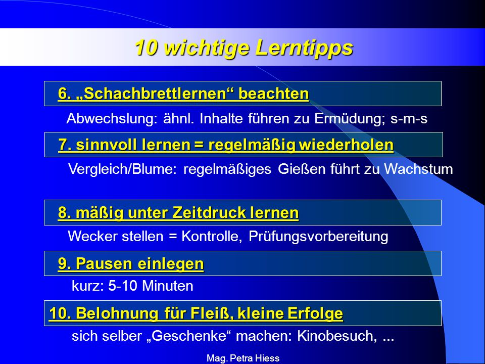 """10 wichtige Lerntipps 6. """"Schachbrettlernen beachten"""