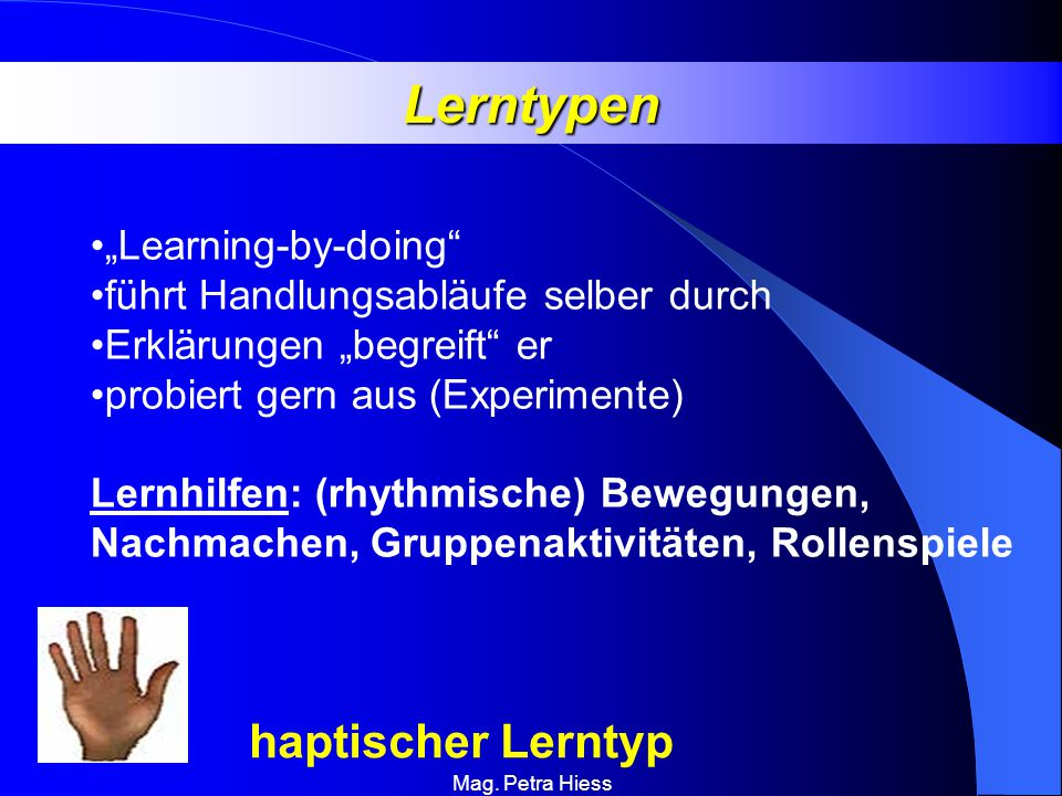 "Lerntypen haptischer Lerntyp ""Learning-by-doing"