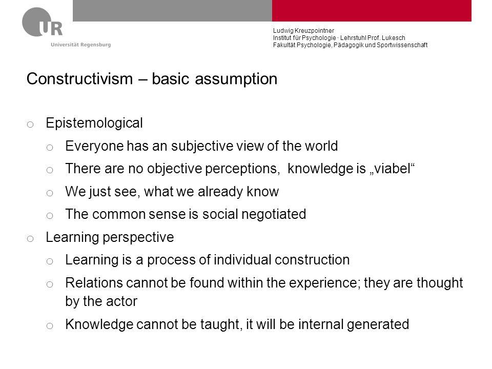 Constructivism – basic assumption