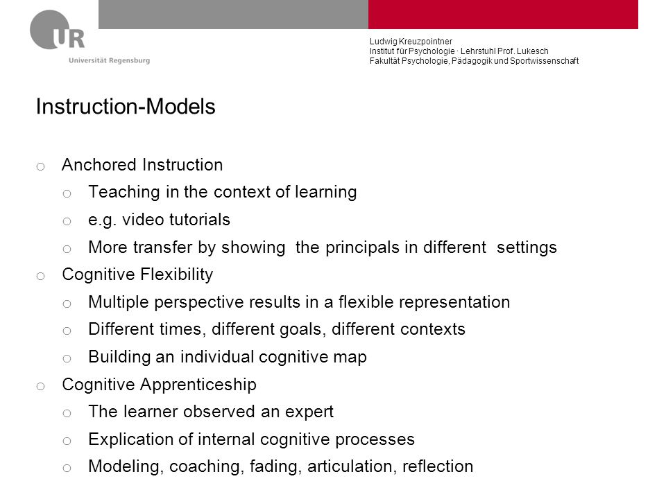 Instruction-Models Anchored Instruction