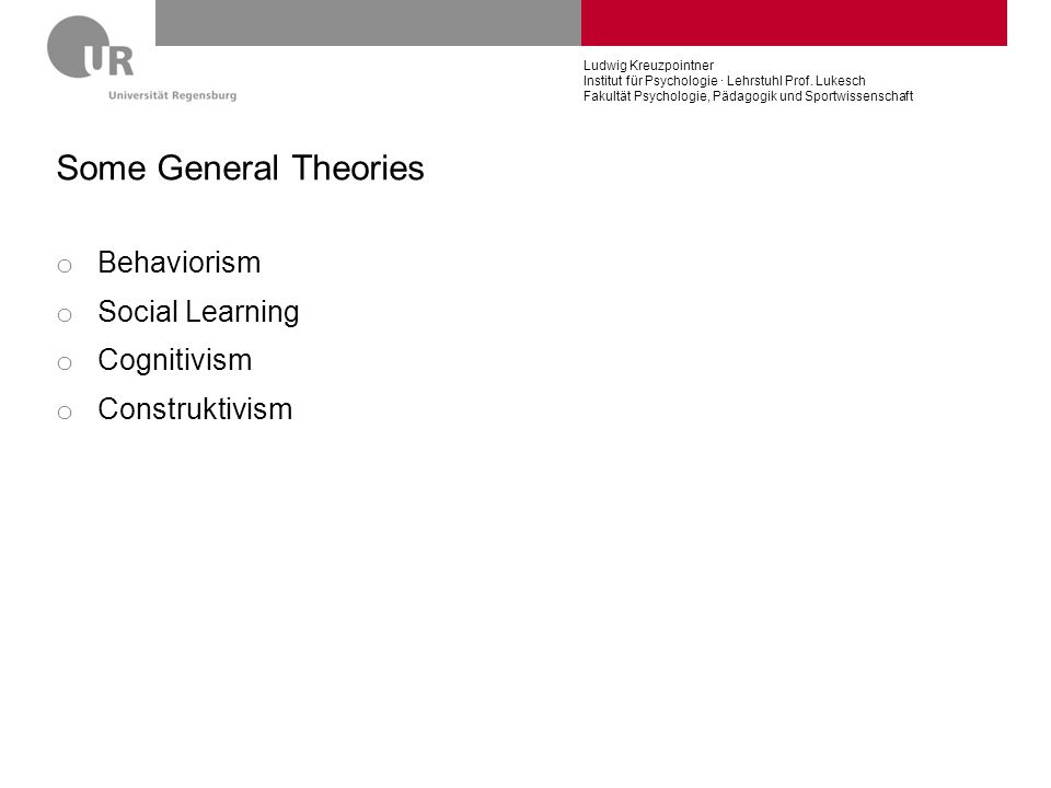 Some General Theories Behaviorism Social Learning Cognitivism