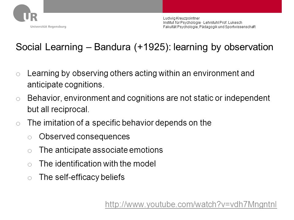 Social Learning – Bandura (+1925): learning by observation