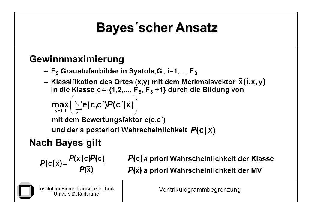 Bayes´scher Ansatz Gewinnmaximierung Nach Bayes gilt