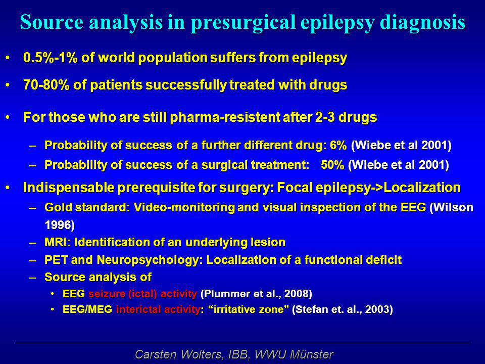 Source analysis in presurgical epilepsy diagnosis