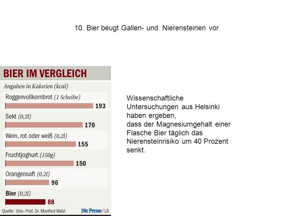 10. Bier beugt Gallen- und Nierensteinen vor