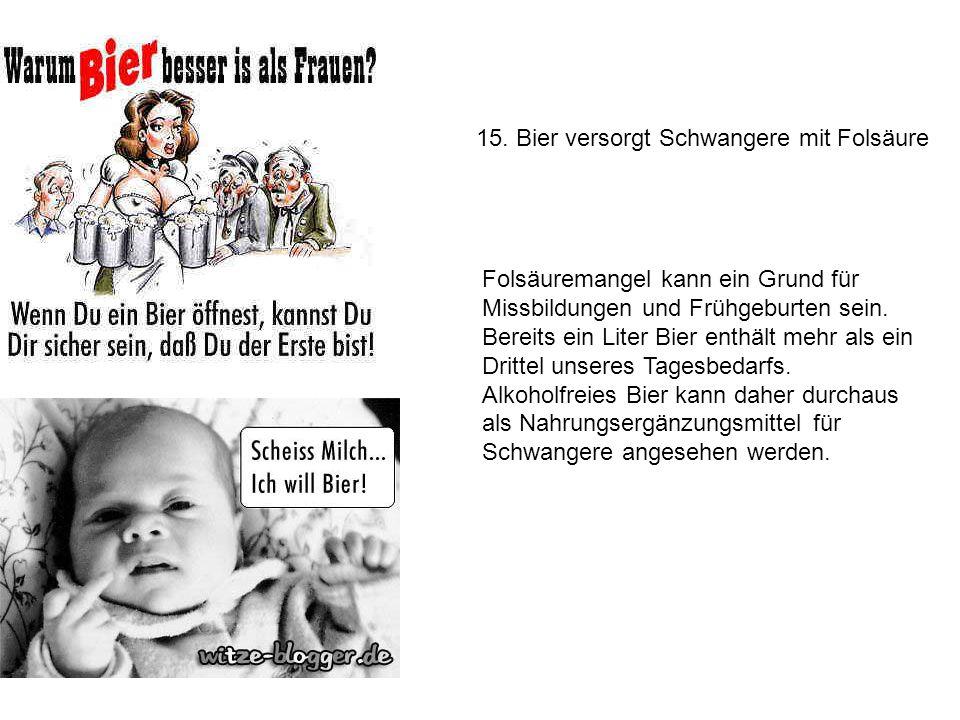 15. Bier versorgt Schwangere mit Folsäure
