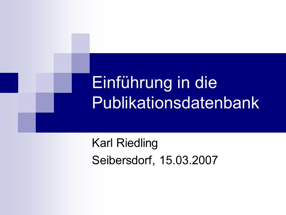 Einführung in die Publikationsdatenbank
