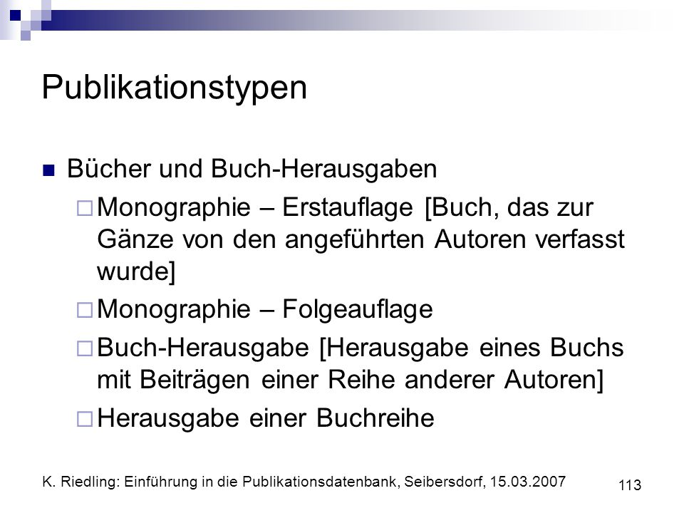 Publikationstypen Bücher und Buch-Herausgaben