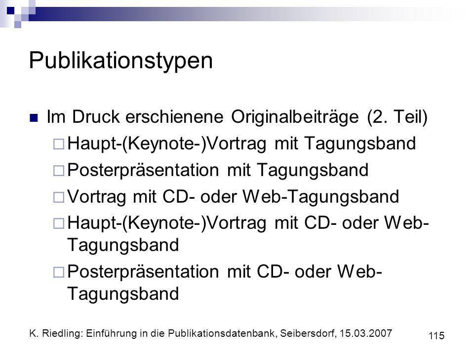 Publikationstypen Im Druck erschienene Originalbeiträge (2. Teil)