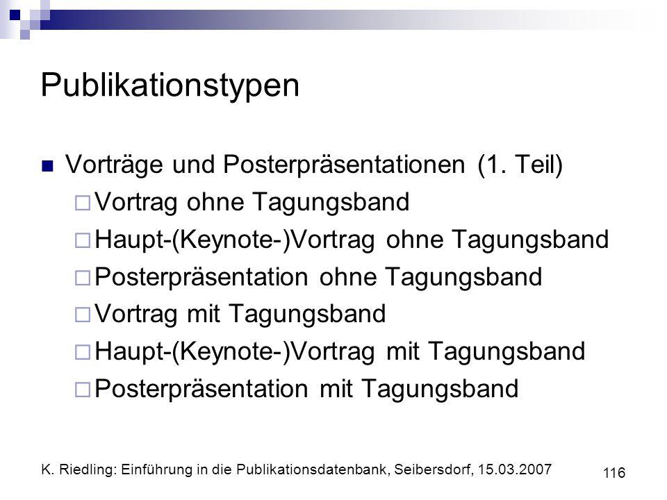 Publikationstypen Vorträge und Posterpräsentationen (1. Teil)