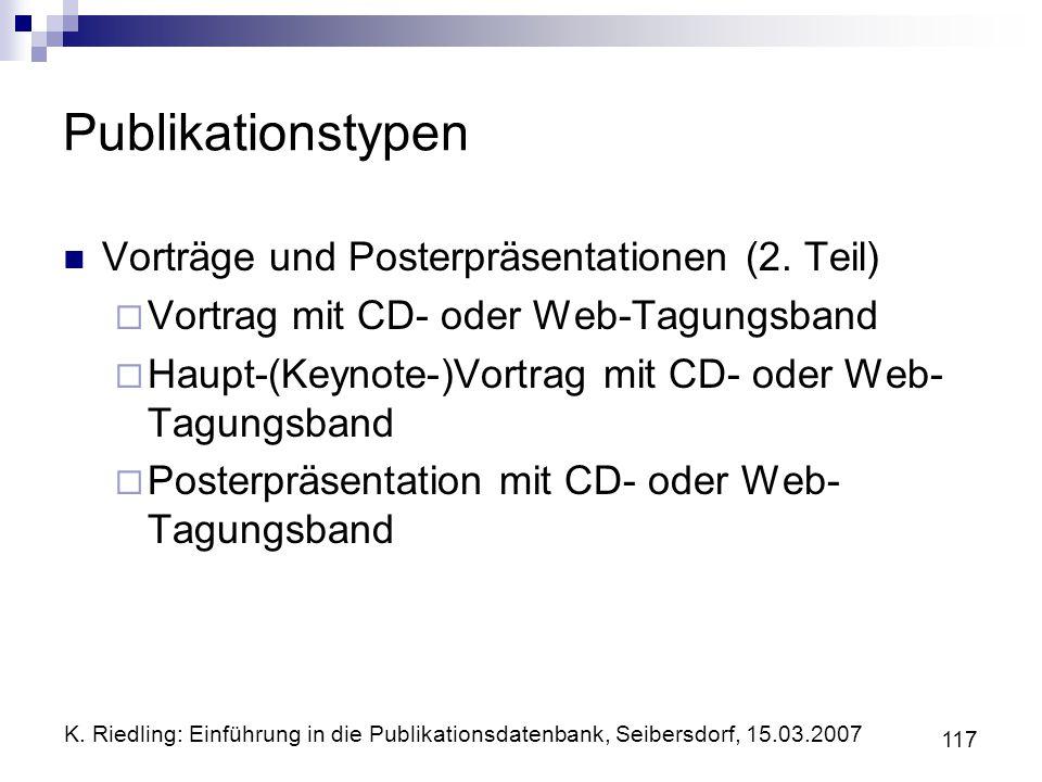 Publikationstypen Vorträge und Posterpräsentationen (2. Teil)