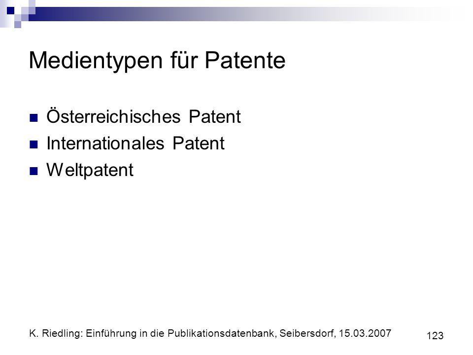 Medientypen für Patente