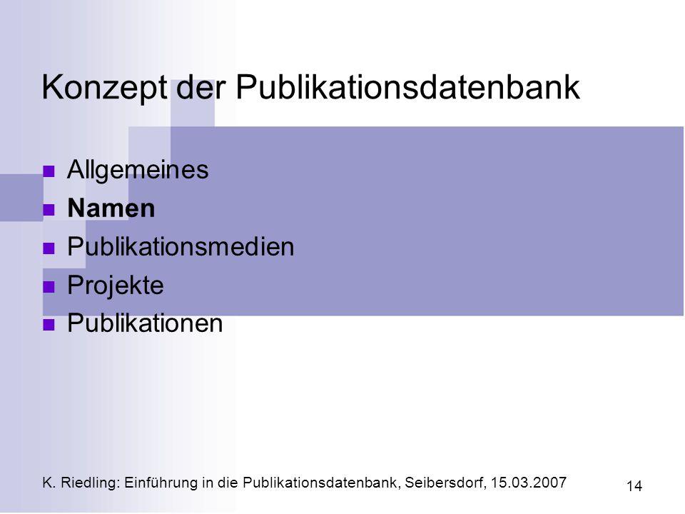 Konzept der Publikationsdatenbank