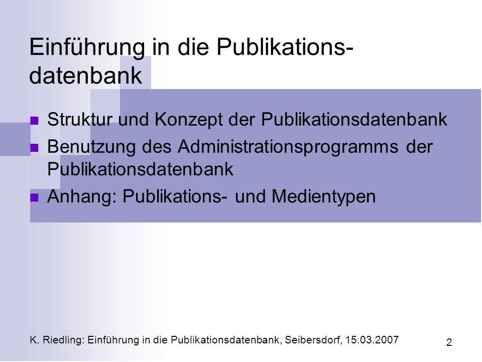 Einführung in die Publikations-datenbank