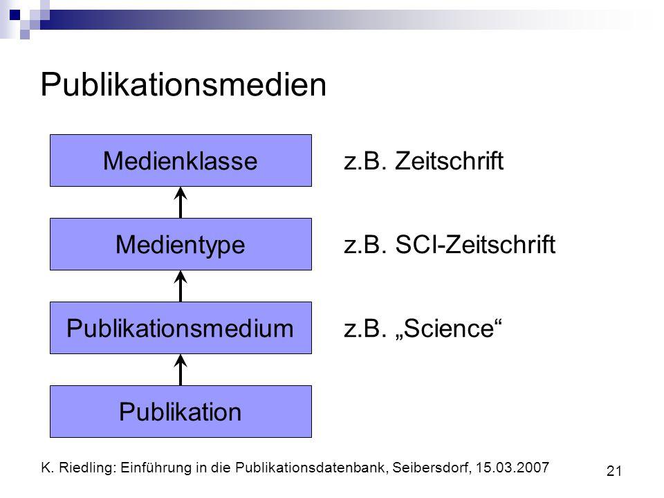 Publikationsmedien Medienklasse z.B. Zeitschrift Medientype