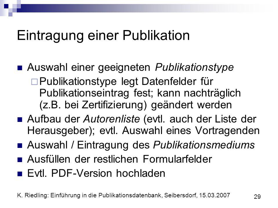 Eintragung einer Publikation