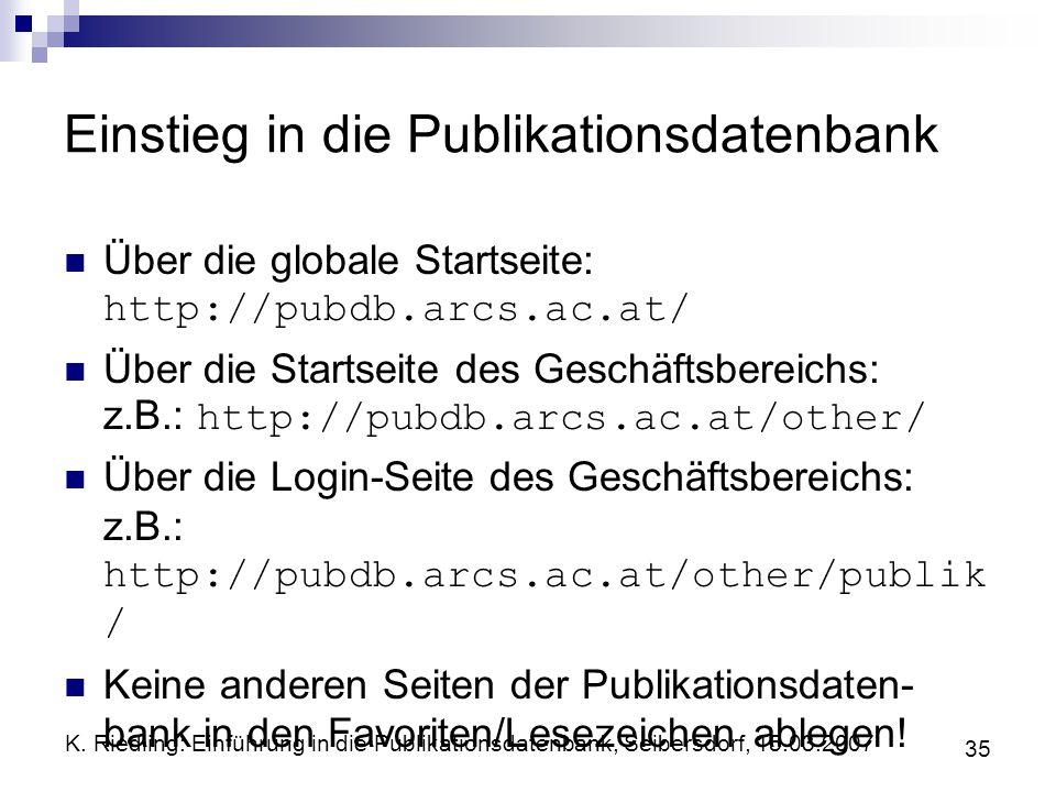 Einstieg in die Publikationsdatenbank