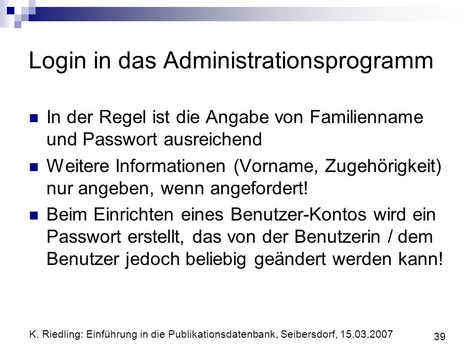 Login in das Administrationsprogramm