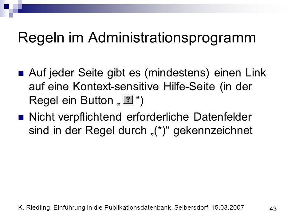 Regeln im Administrationsprogramm