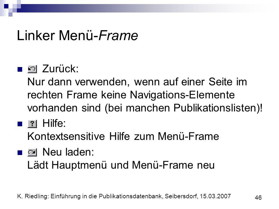 Linker Menü-Frame