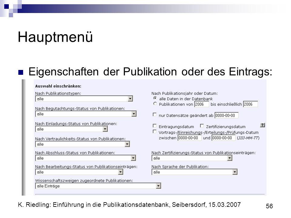 Hauptmenü Eigenschaften der Publikation oder des Eintrags: