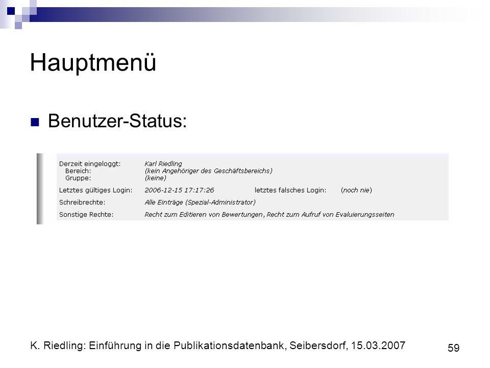 Hauptmenü Benutzer-Status: