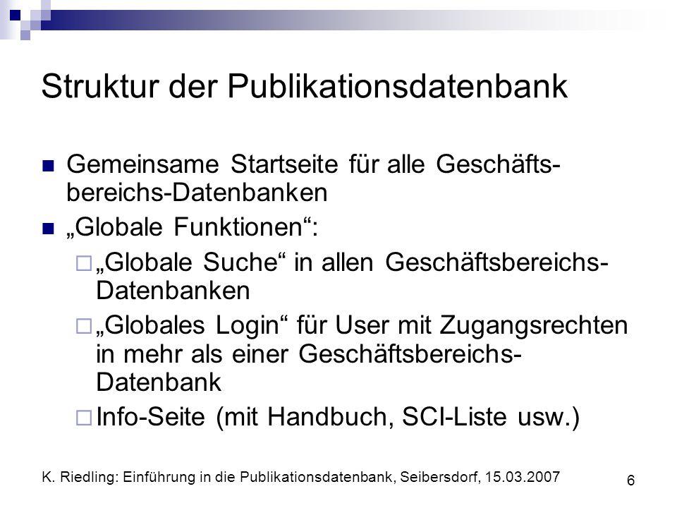 Struktur der Publikationsdatenbank