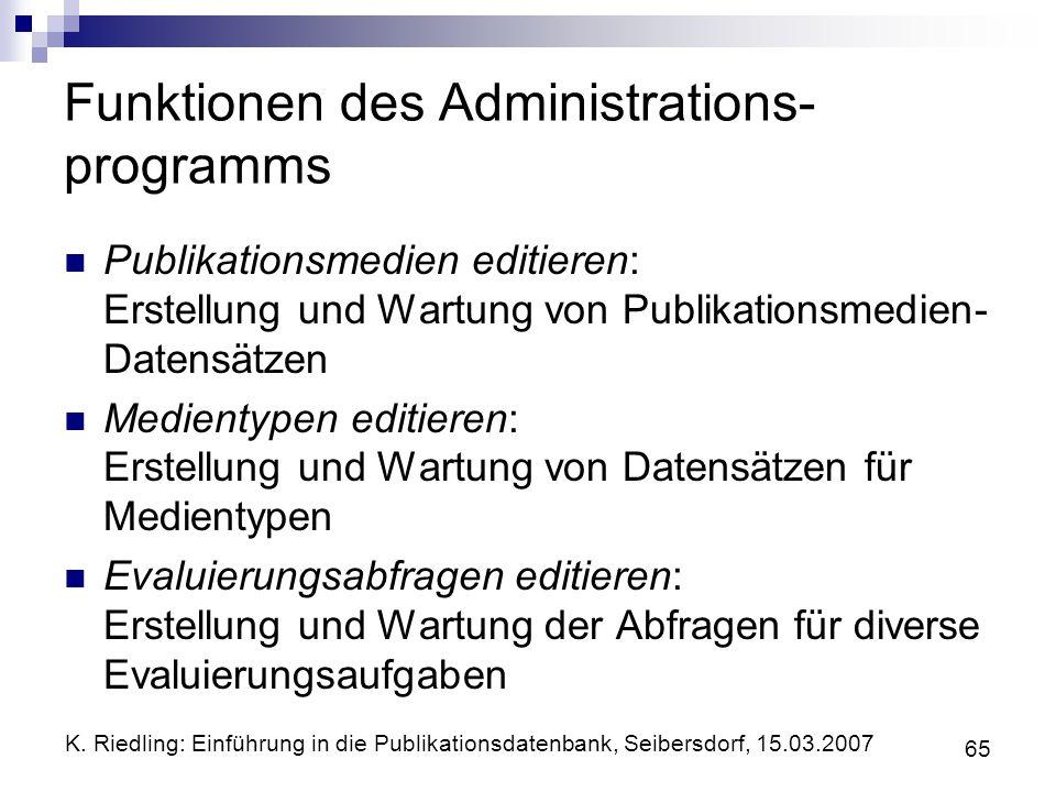 Funktionen des Administrations-programms