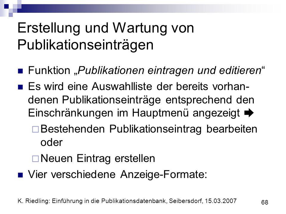 Erstellung und Wartung von Publikationseinträgen