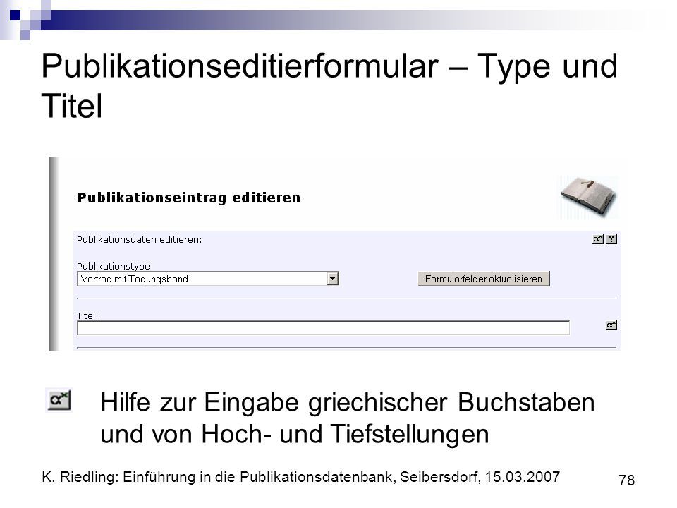Publikationseditierformular – Type und Titel