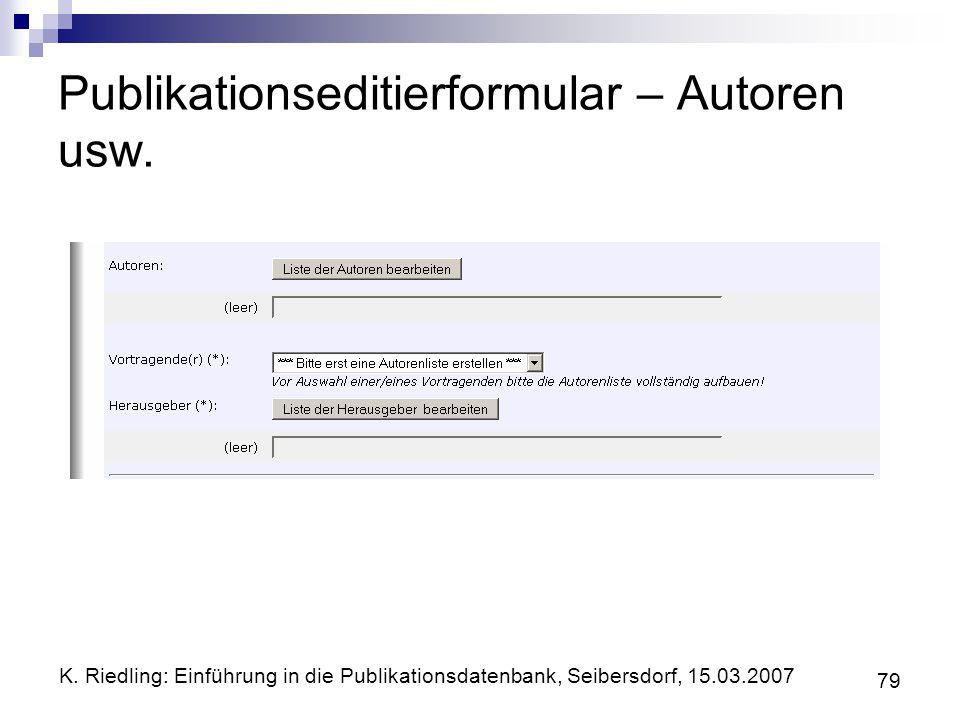 Publikationseditierformular – Autoren usw.