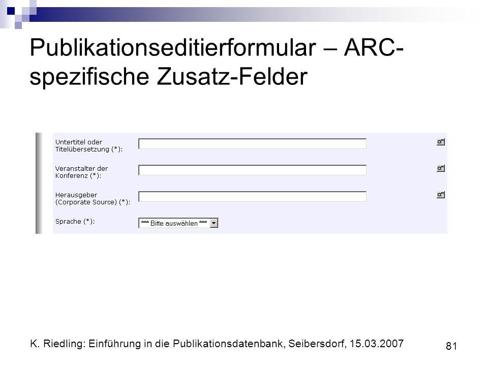 Publikationseditierformular – ARC-spezifische Zusatz-Felder