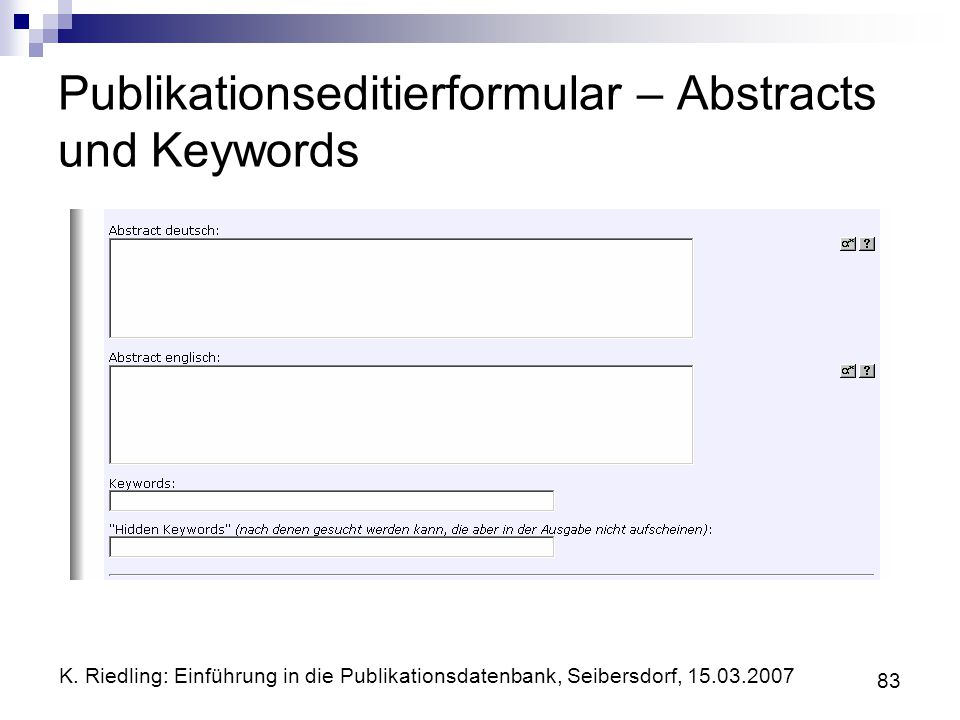 Publikationseditierformular – Abstracts und Keywords