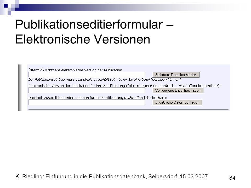 Publikationseditierformular – Elektronische Versionen