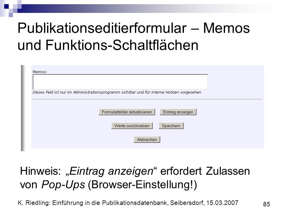 Publikationseditierformular – Memos und Funktions-Schaltflächen