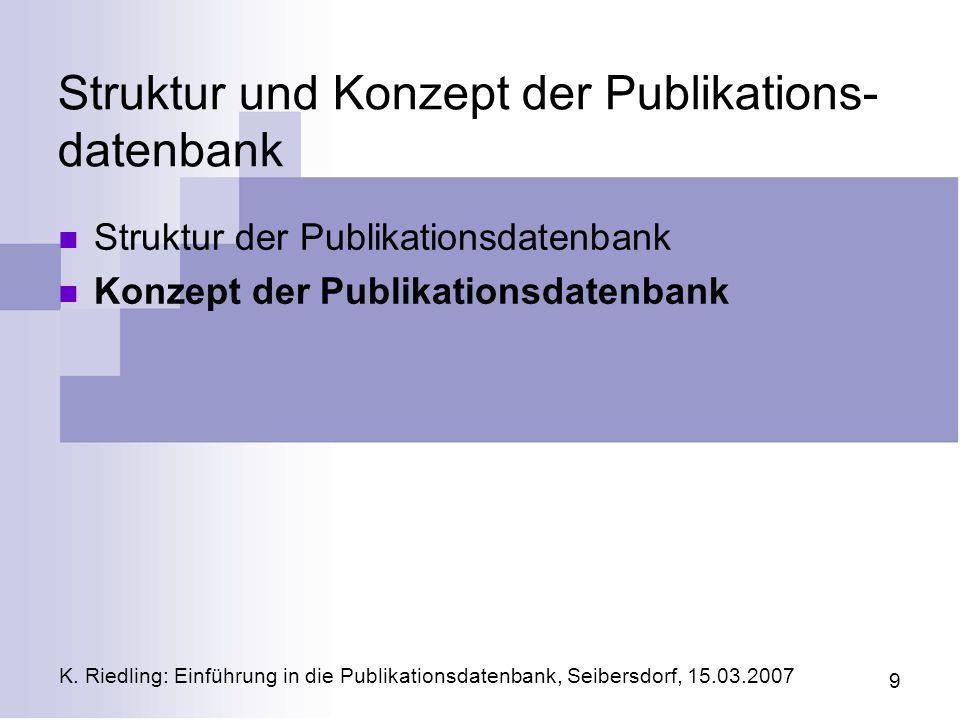 Struktur und Konzept der Publikations-datenbank