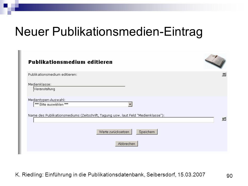 Neuer Publikationsmedien-Eintrag
