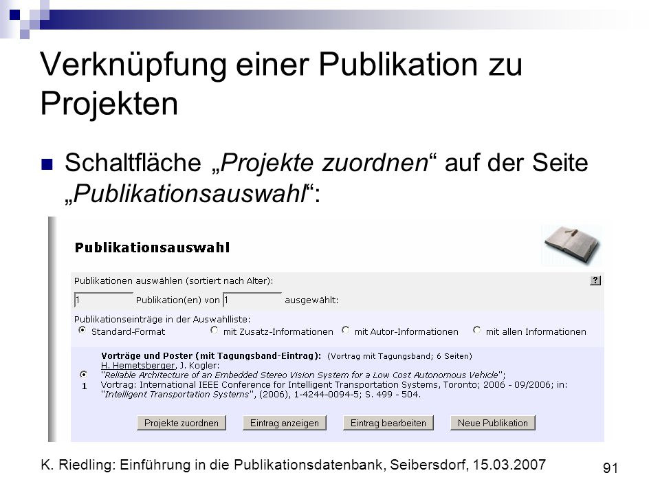 Verknüpfung einer Publikation zu Projekten