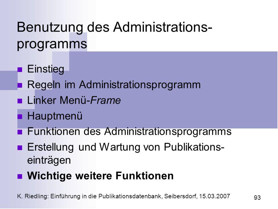 Benutzung des Administrations-programms