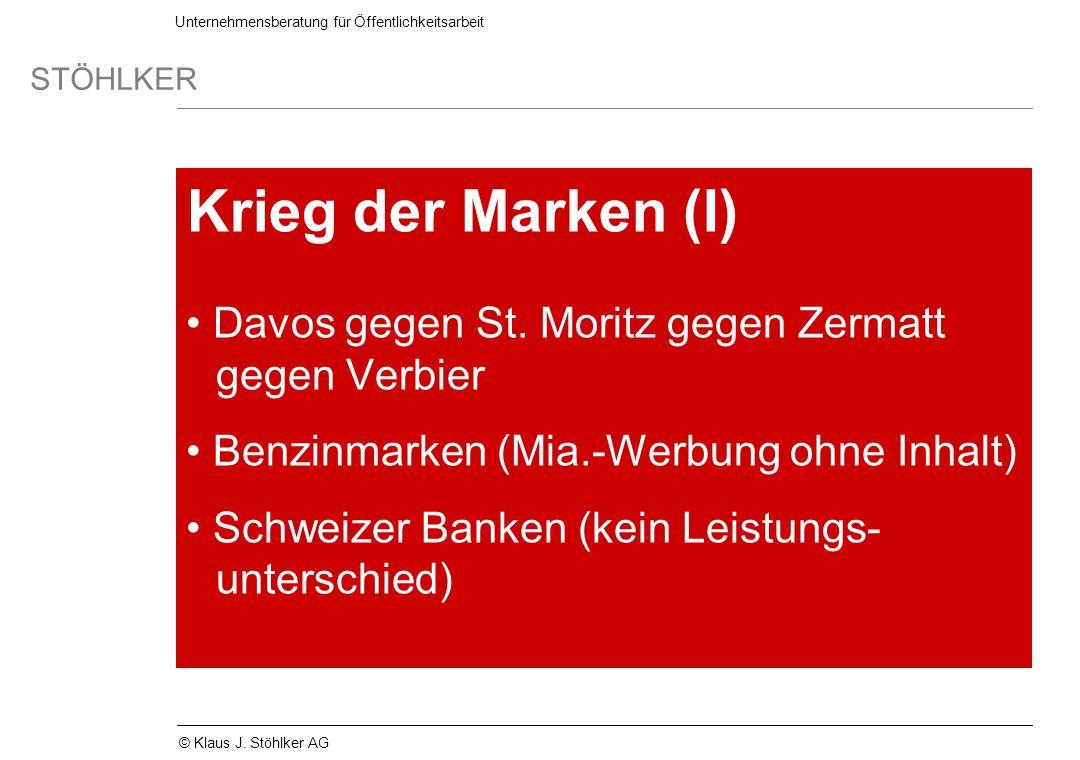 Krieg der Marken (I) Davos gegen St. Moritz gegen Zermatt gegen Verbier. Benzinmarken (Mia.-Werbung ohne Inhalt)