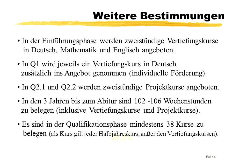 Weitere Bestimmungen In der Einführungsphase werden zweistündige Vertiefungskurse. in Deutsch, Mathematik und Englisch angeboten.