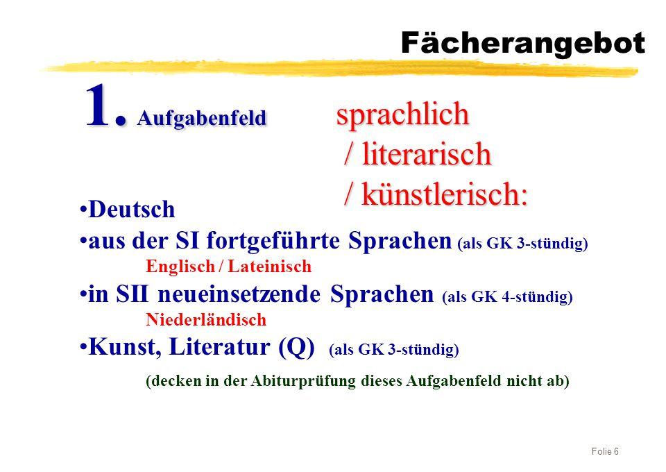 1. Aufgabenfeld sprachlich / literarisch / künstlerisch: Fächerangebot