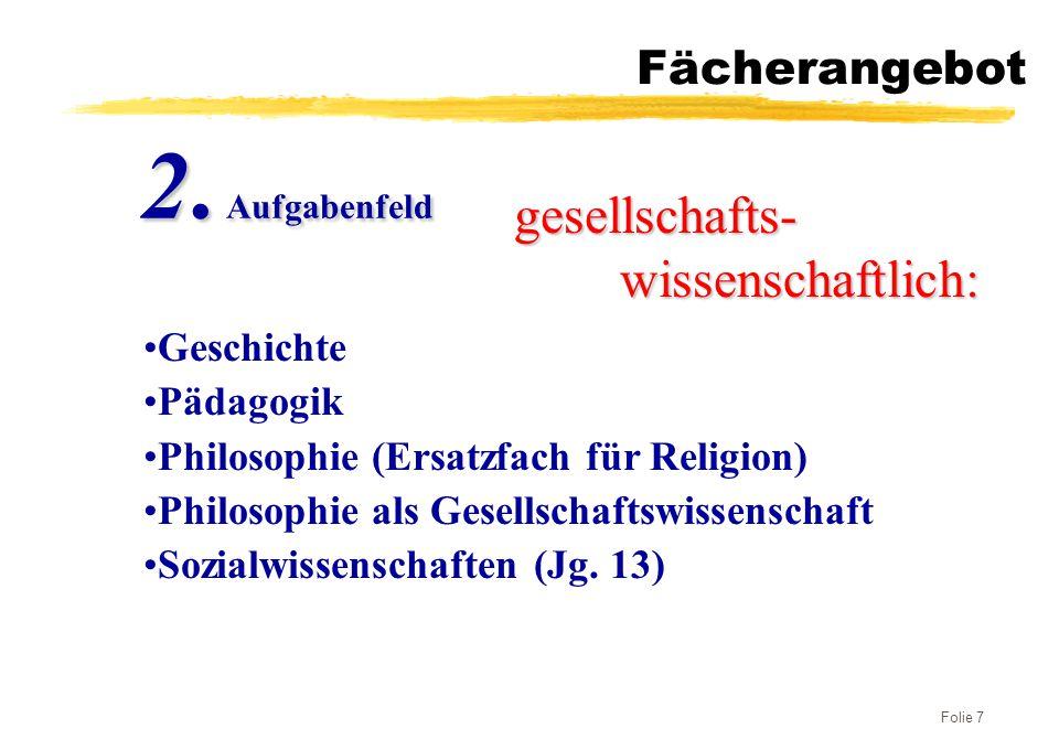 2. Aufgabenfeld gesellschafts- wissenschaftlich: Fächerangebot