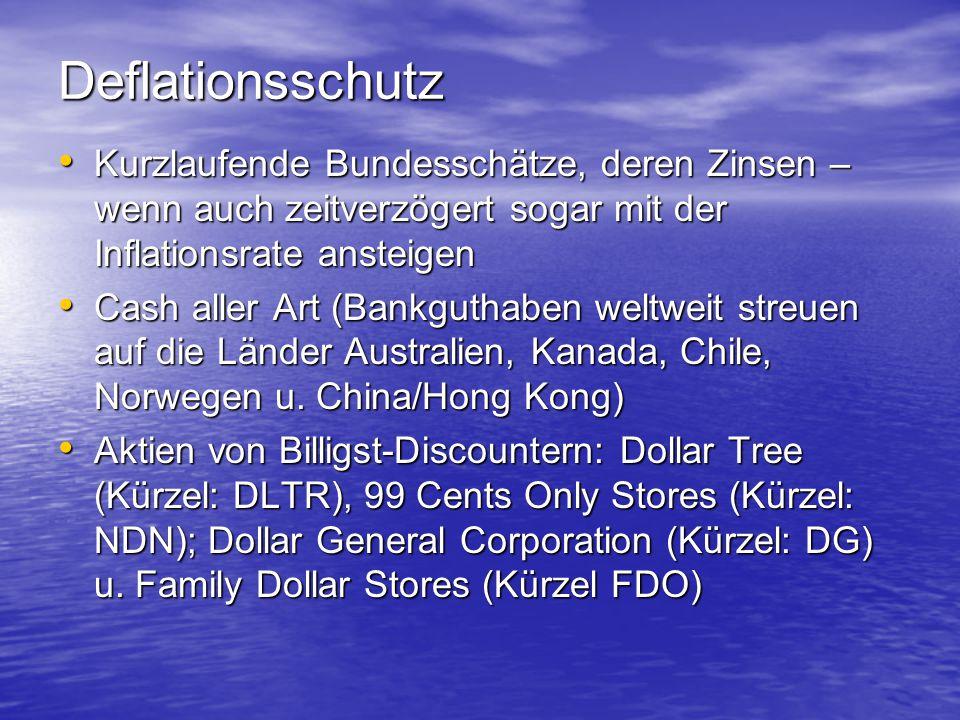 Deflationsschutz Kurzlaufende Bundesschätze, deren Zinsen – wenn auch zeitverzögert sogar mit der Inflationsrate ansteigen.