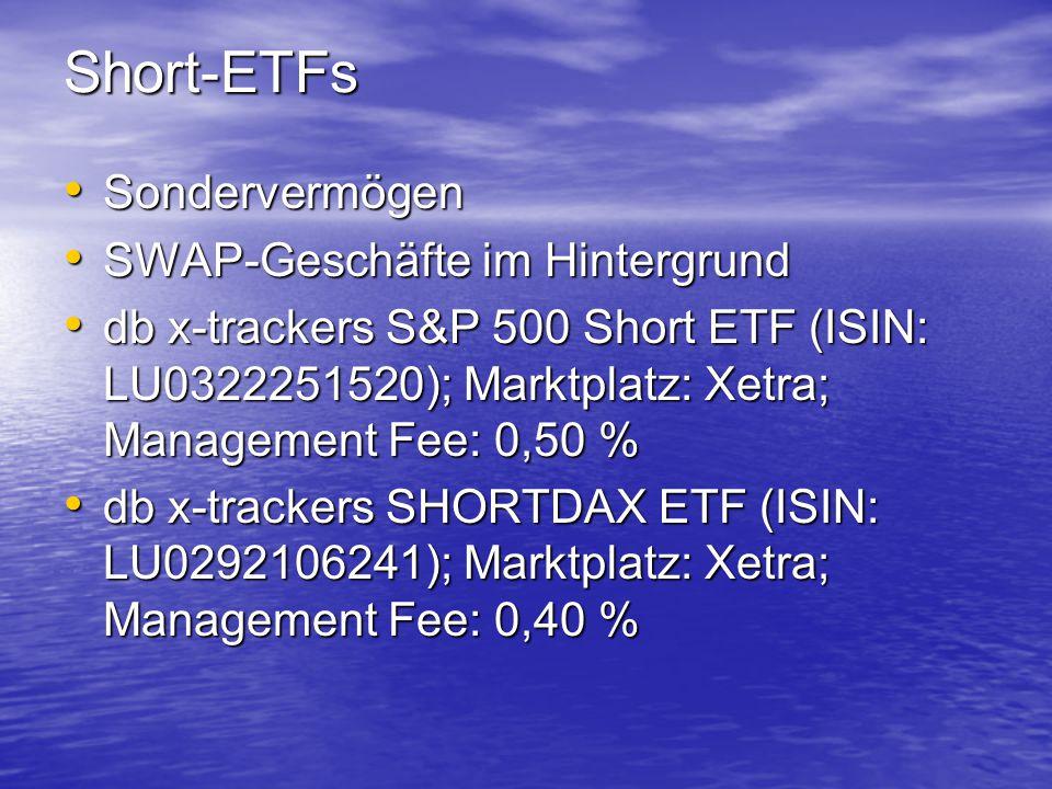 Short-ETFs Sondervermögen SWAP-Geschäfte im Hintergrund